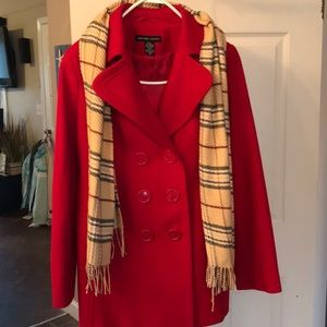 Red NY and Co pea coat with scarf